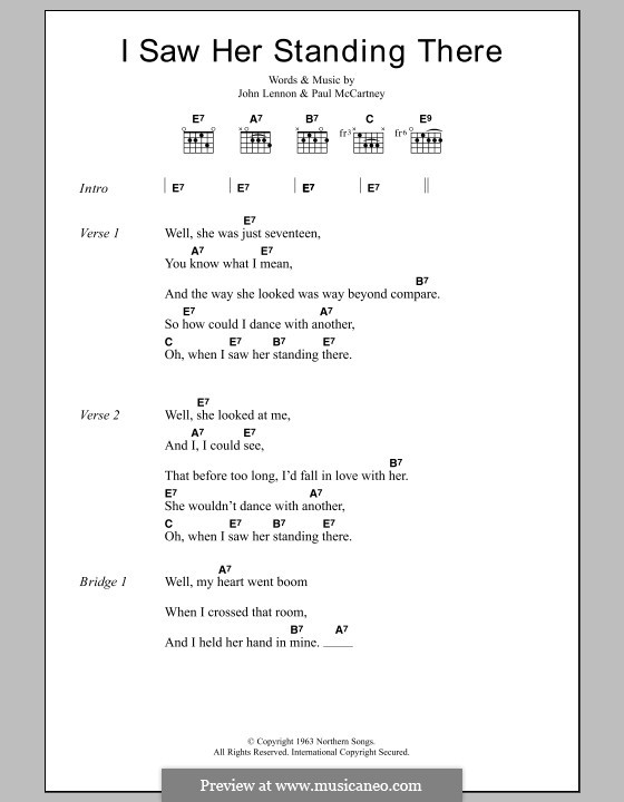 I Saw Her Standing There (The Beatles): Lyrics and chords by John Lennon, Paul McCartney