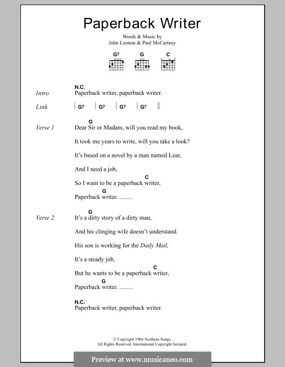 Paperback Writer (The Beatles): Lyrics and chords by John Lennon, Paul McCartney