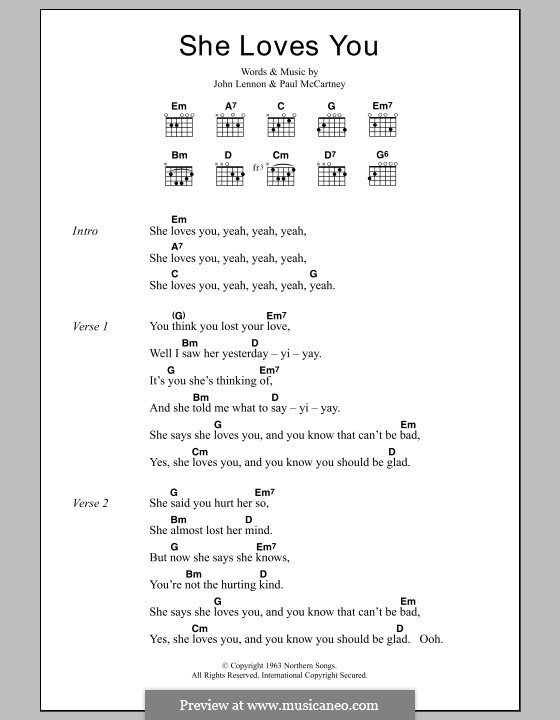 She Loves You (The Beatles): Lyrics and chords by John Lennon, Paul McCartney