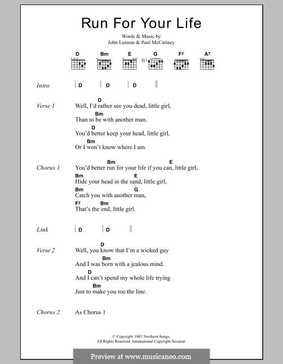 Run for Your Life (The Beatles): Lyrics and chords by John Lennon, Paul McCartney