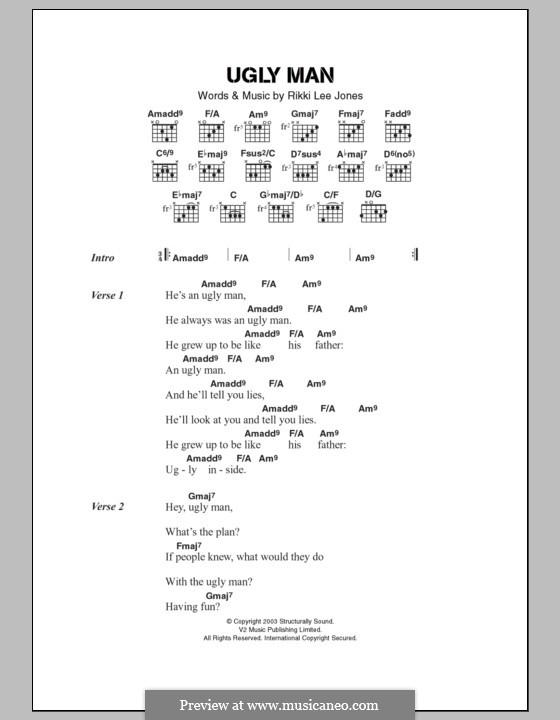 Ugly Man: Lyrics and chords by Rickie Lee Jones