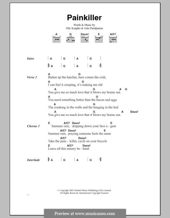Pain Killer (Turin Brakes): Lyrics and chords by Gale Paridjanian, Olly Knights