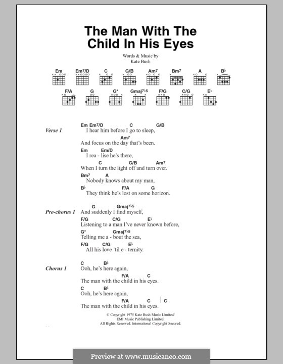 The Man with the Child in His Eyes: Lyrics and chords by Kate Bush