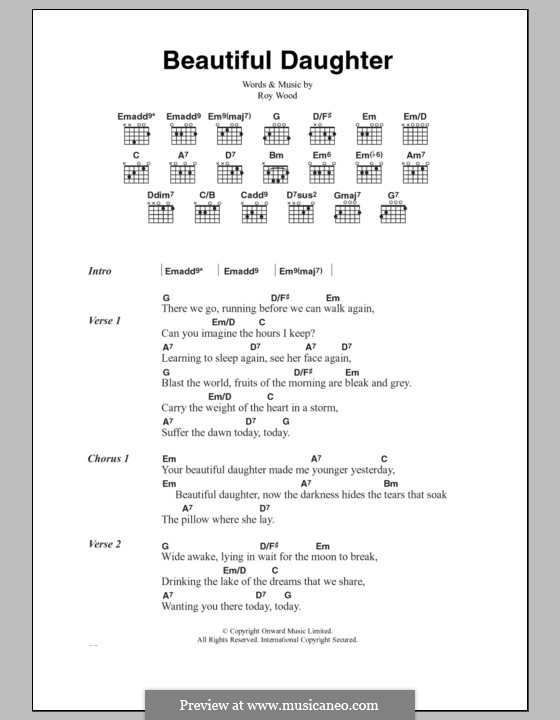 Beautiful Daughter (The Move): Lyrics and chords by Roy Wood