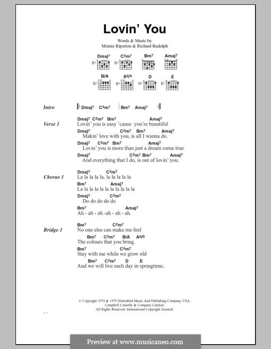 Lovin' You: Lyrics and chords by Minnie Riperton, Richard Rudolph
