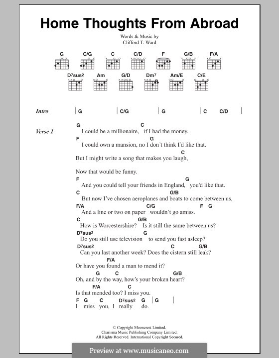 Home Thoughts from Abroad: Lyrics and chords by Clifford T. Ward