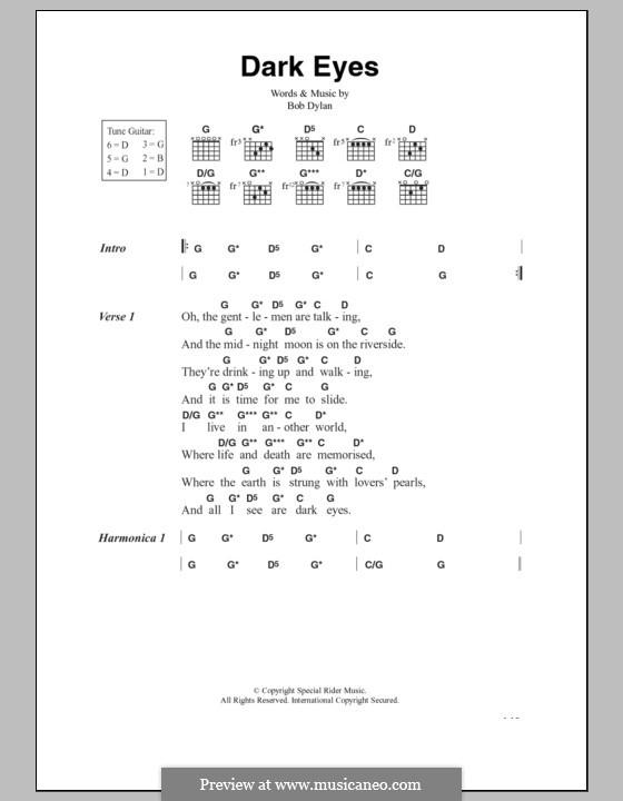 Dark Eyes by B. Dylan - sheet music on MusicaNeo