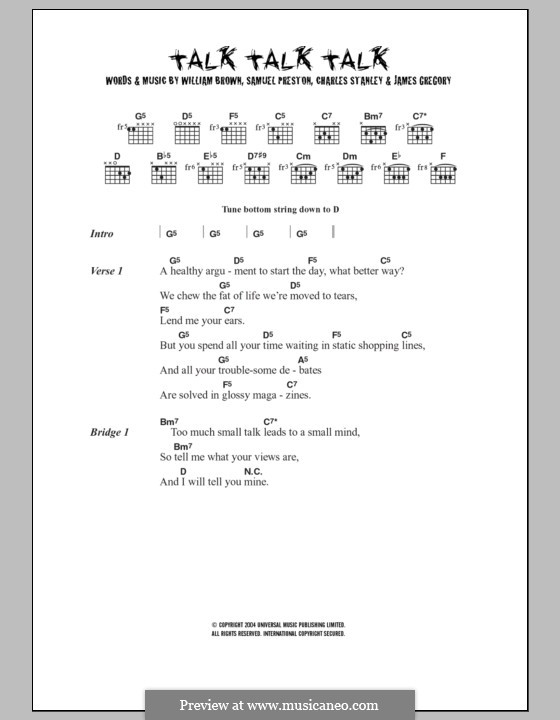 Talk Talk Talk (The Ordinary Boys): Lyrics and chords by Charles Stanley, James Gregory, Samuel Preston, William Brown