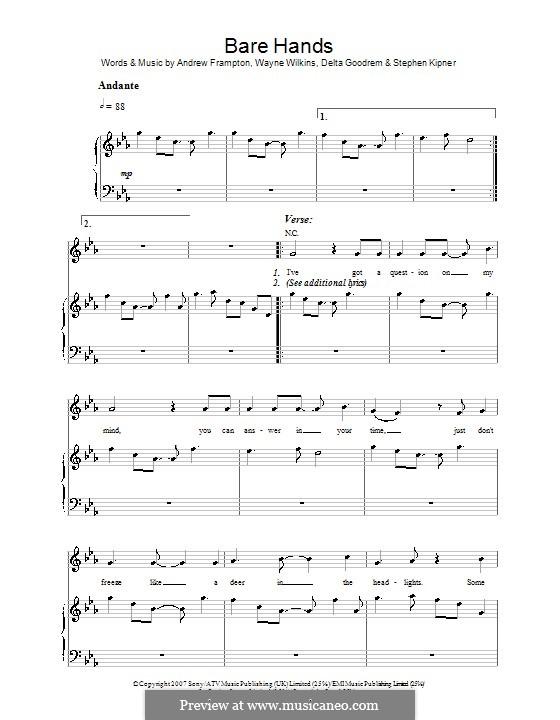 Bare Hands (Delta Goodrem): For voice and piano (or guitar) by Andrew Frampton, Stephen Alan Kipner, Wayne Wilkins