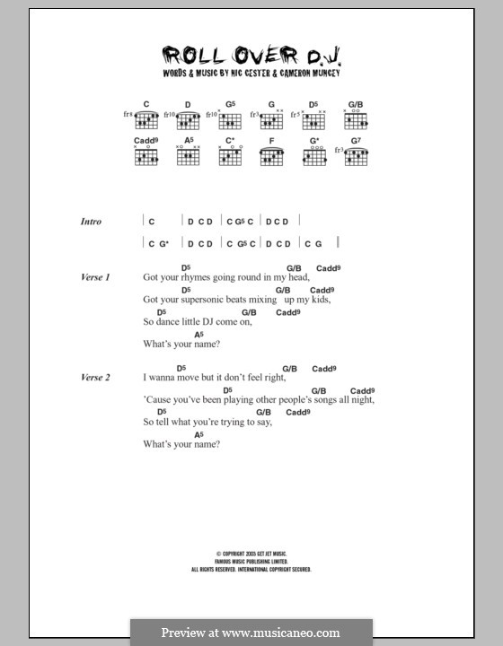 Rollover D.J. (Jet): Lyrics and chords by Cameron Muncey, Nic Cester