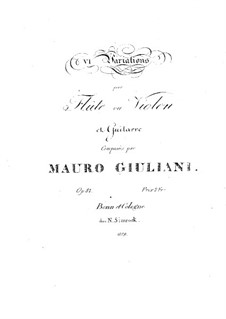 Six Variations for Flute (or Violin) and Guitar, Op.81: Six Variations for Flute (or Violin) and Guitar by Mauro Giuliani