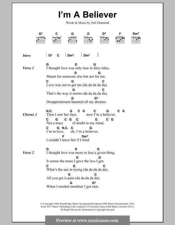 I'm a Believer: Lyrics and chords by Neil Diamond
