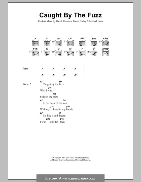 Caught By the Fuzz (Supergrass): Lyrics and chords by Daniel Goffey, Gareth Coombes, Michael Quinn