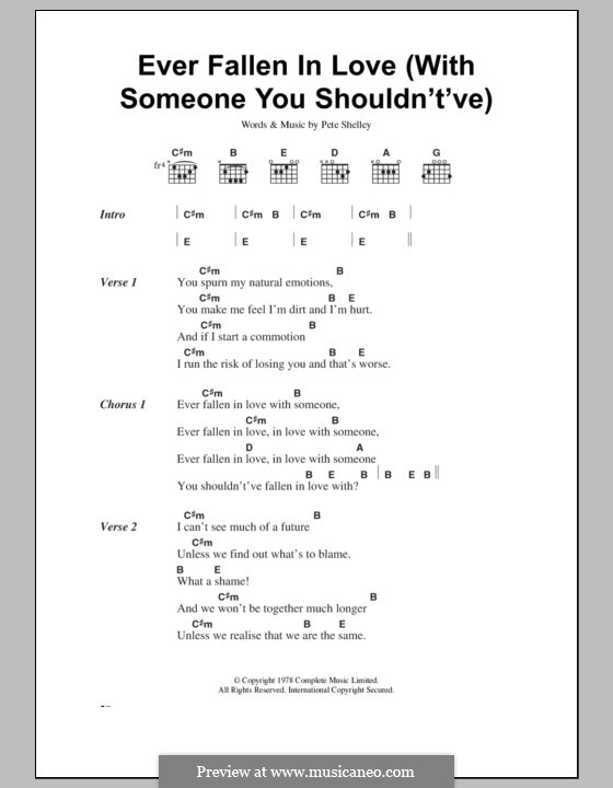 Ever Fallen in Love (With Someone You Shouldn't've): Lyrics and chords (The Buzzcocks) by Pete Shelley