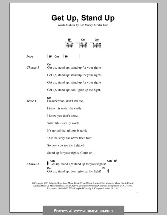 Get Up Stand Up: Lyrics and chords by Bob Marley, Peter Tosh