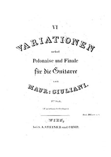 Six Variations for Guitar, Op.9: For a single performer by Mauro Giuliani