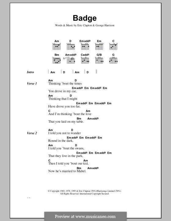 Badge (Cream) by E. Clapton, G. Harrison - sheet music on MusicaNeo