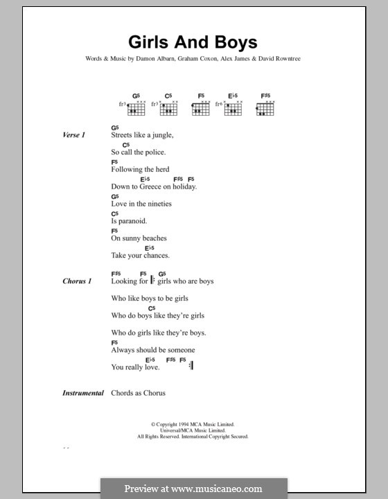 Girls and Boys (Blur): Lyrics and chords by Alex James, Damon Albarn, David Rowntree, Graham Coxon