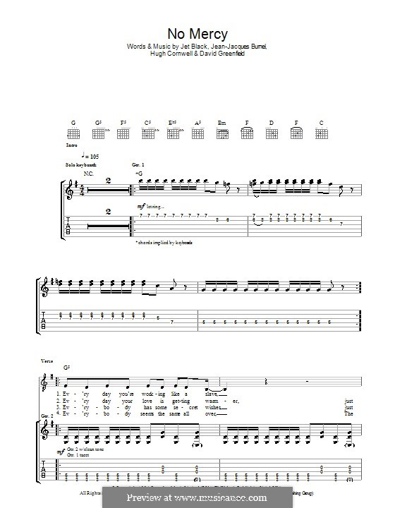 No Mercy (The Stranglers): For guitar with tab by David Greenfield, Hugh Cornwell, Jean-Jacques Burnel, Jet Black