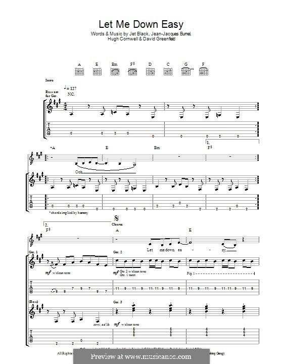 Let Me Down Easy (The Stranglers): For guitar with tab by David Greenfield, Hugh Cornwell, Jean-Jacques Burnel, Jet Black