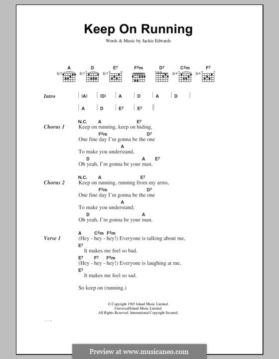 Keep on Running (The Spencer Davis Group): Lyrics and chords by Jack Edwards