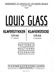 Three Pieces for Piano, Op.66: Three Piano Pieces by Louis Glass