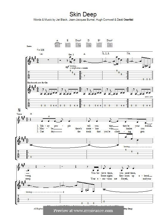 Skin Deep (The Stranglers): For guitar with tab by David Greenfield, Hugh Cornwell, Jean-Jacques Burnel, Jet Black