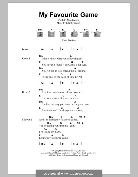 My Favourite Game (The Cardigans): Lyrics and chords by Peter Svensson