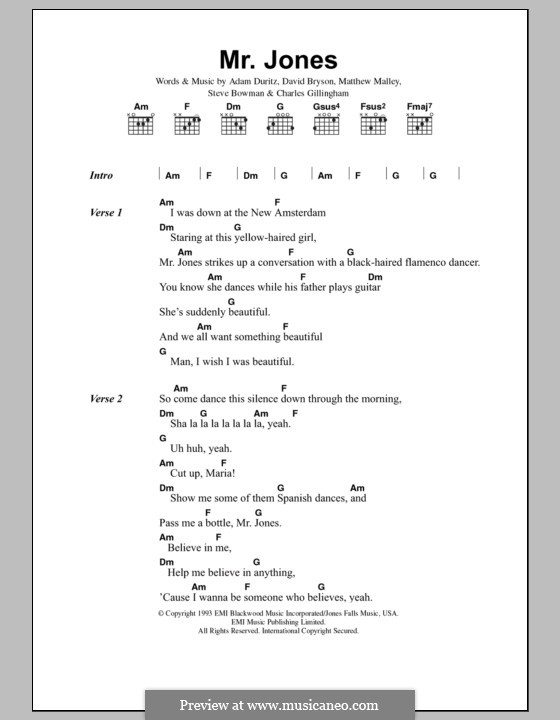 Mr. Jones (Counting Crows): Lyrics and chords by Adam F. Duritz, David Bryson