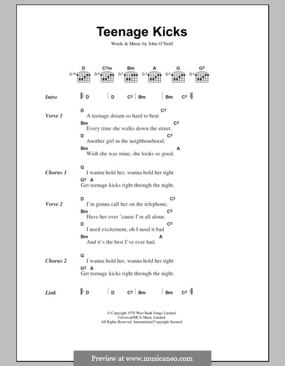Modern Guitar Chords For Teenage Kicks Composition - Beginner Guitar ...