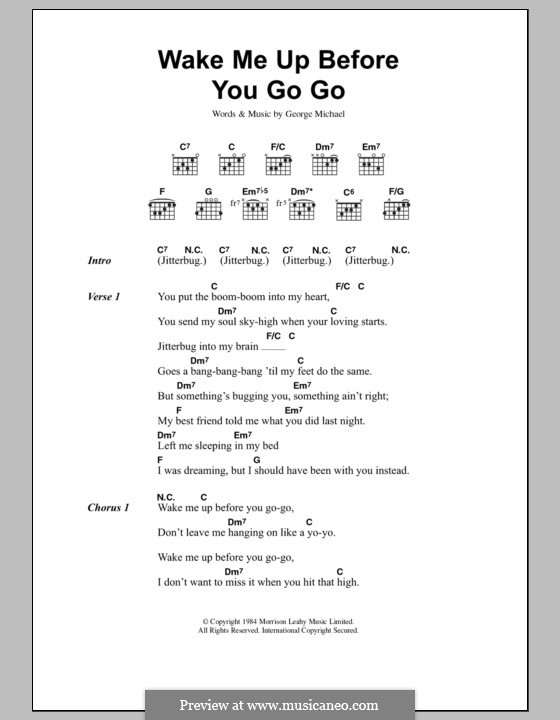 Wake Me Up Before You Go Go (Wham!): Lyrics and chords by George Michael