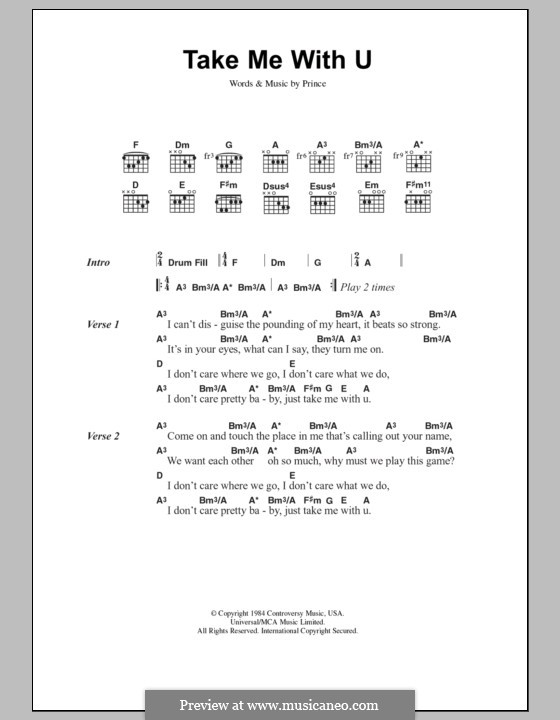 Take Me With U By Prince Sheet Music On Musicaneo