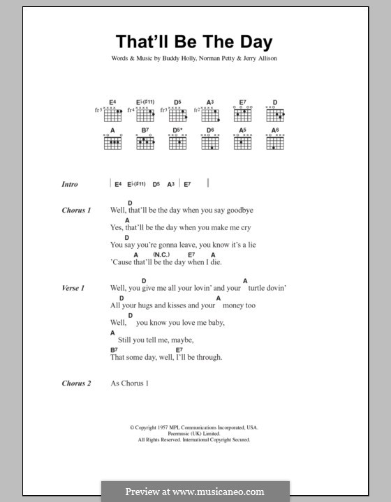 That'll Be the Day: Lyrics and chords by Buddy Holly, Jerry Allison, Norman Petty