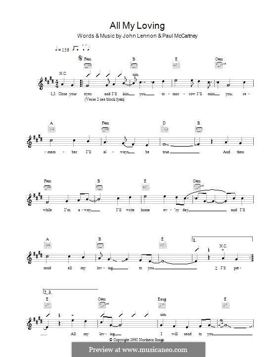 All My Loving (The Beatles): Melody line, lyrics and chords by John Lennon, Paul McCartney