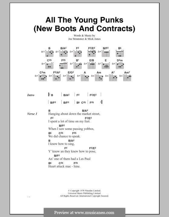 All the Young Punks (New Boots and Contracts): Lyrics and chords (The Clash) by Joe Strummer, Mick Jones