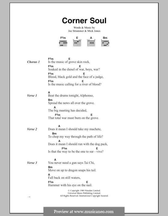 Corner Soul (The Clash): Lyrics and chords by Joe Strummer, Mick Jones