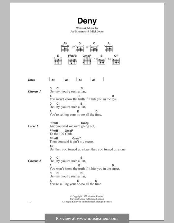 Deny (The Clash): Lyrics and chords by Joe Strummer, Mick Jones