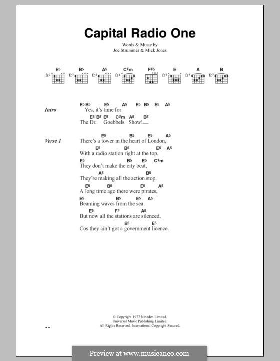 Capital Radio One (The Clash): Lyrics and chords by Joe Strummer, Mick Jones