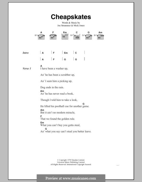 Cheapskates (The Clash): Lyrics and chords by Joe Strummer, Mick Jones