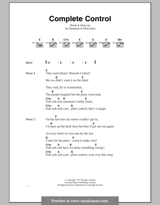 Complete Control (The Clash): Lyrics and chords by Joe Strummer, Mick Jones