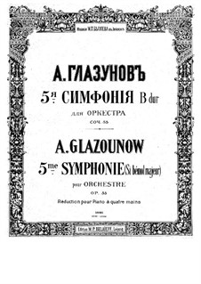 Symphony No.5 in B Flat Major, Op.55: For piano four hands – parts by Alexander Glazunov
