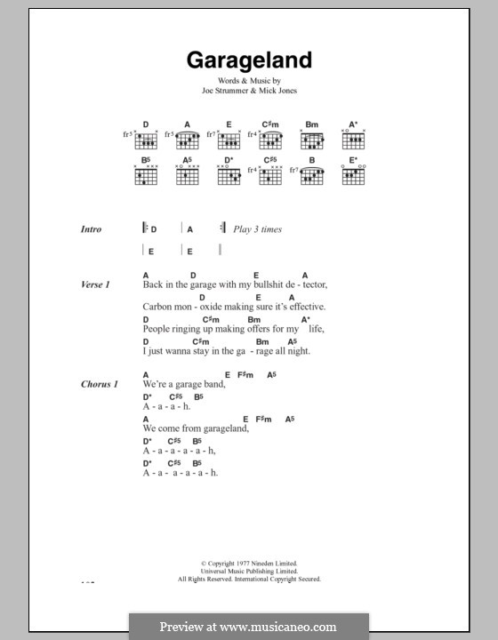 Garageland (The Clash): Lyrics and chords by Joe Strummer, Mick Jones