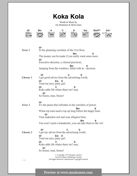 Koka Kola (The Clash): Lyrics and chords by Joe Strummer, Mick Jones