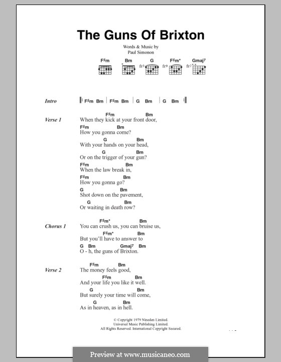 The Guns of Brixton (The Clash): Lyrics and chords by Paul Simonon