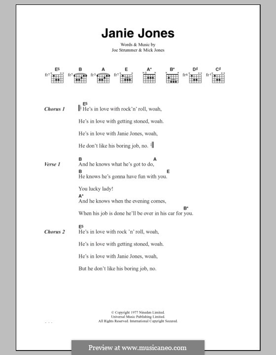 Janie Jones (The Clash): Lyrics and chords by Joe Strummer, Mick Jones