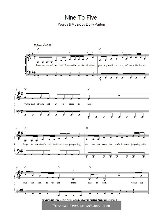 Nine to Five: For easy piano by Dolly Parton