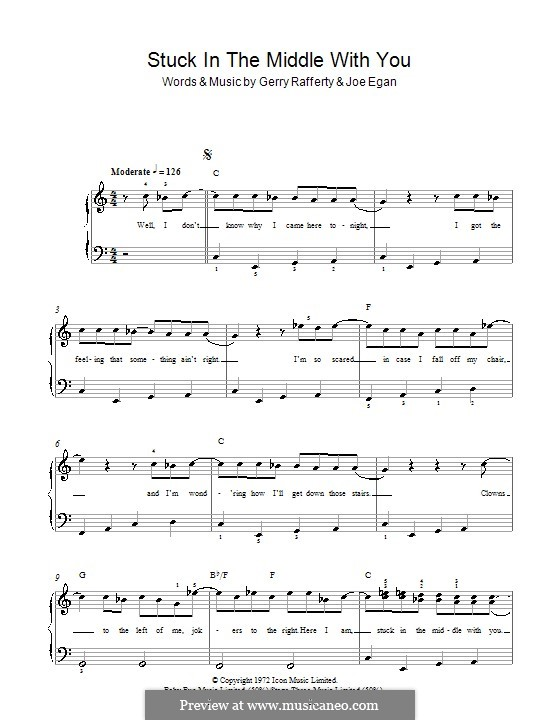 Stuck in the Middle with You (Stealers Wheel): For easy piano by Gerry Rafferty, Joe Egan