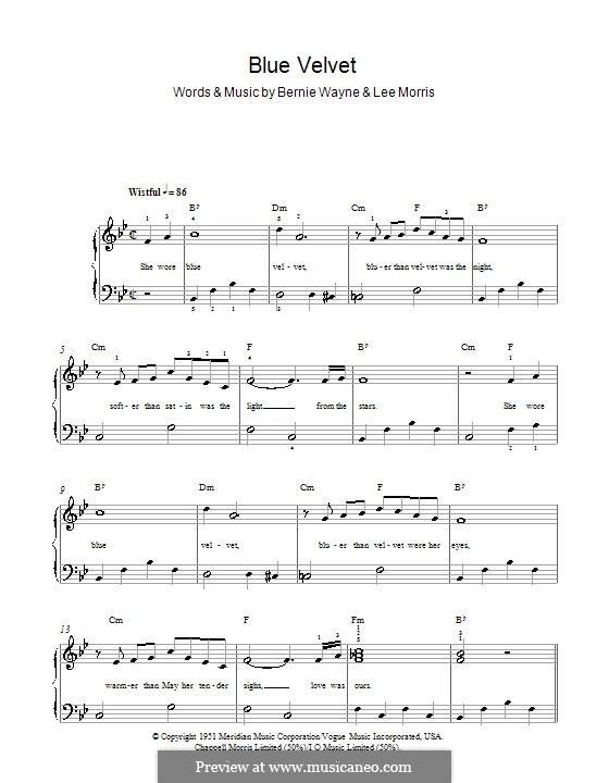 Blue Velvet: For easy piano (Bobby Vinton) by Bernie Wayne, Lee Morris