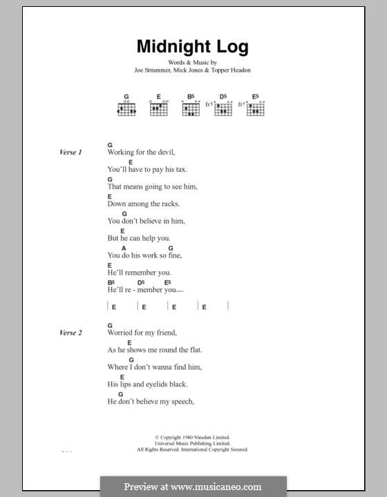 Midnight Log (The Clash): Lyrics and chords by Joe Strummer, Mick Jones, Topper Headon