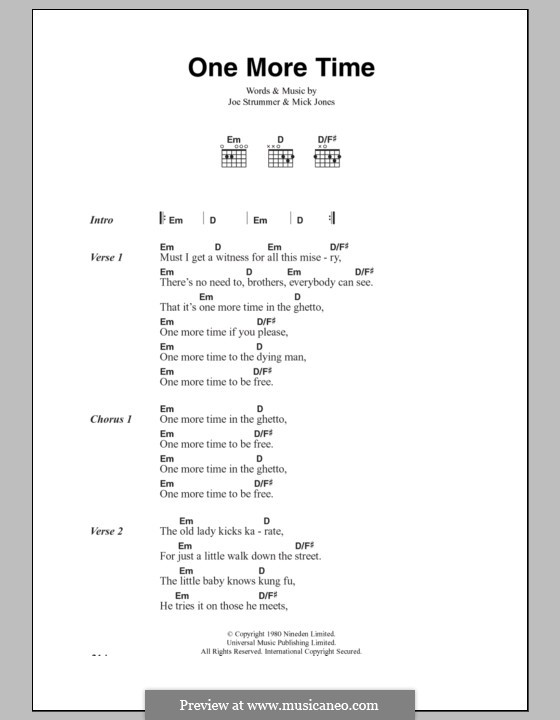 One More Time (The Clash): Lyrics and chords by Joe Strummer, Mick Jones